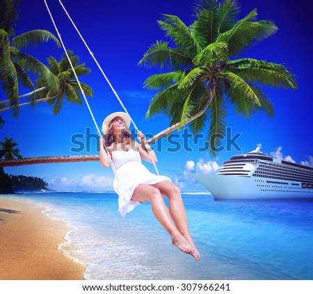 Woman Swinging Summer Beach Relaxing Concept - stock photo