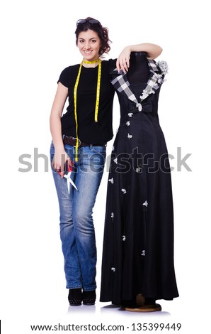 Woman tailor isolated on the white - stock photo