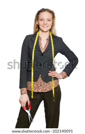Woman tailor isolated on white - stock photo