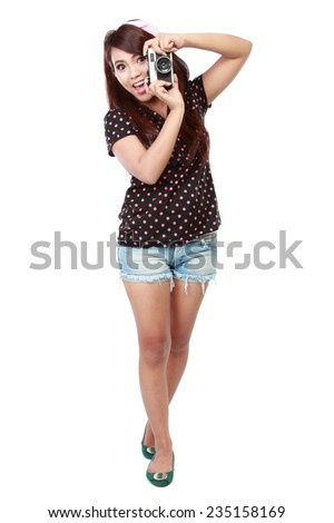 woman take a photo of her self - stock photo