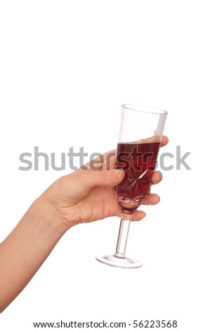 woman takes to hand the one champagne glass