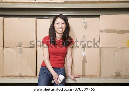 Woman taking a break - stock photo