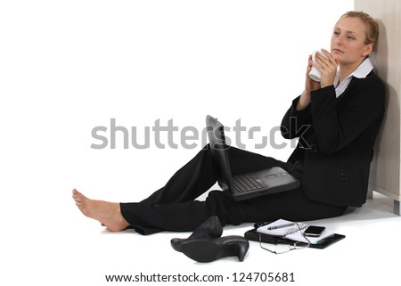 Woman taking a much needed break - stock photo