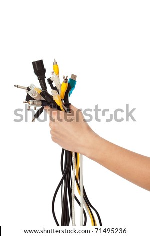 woman taking different wires in the hand - stock photo