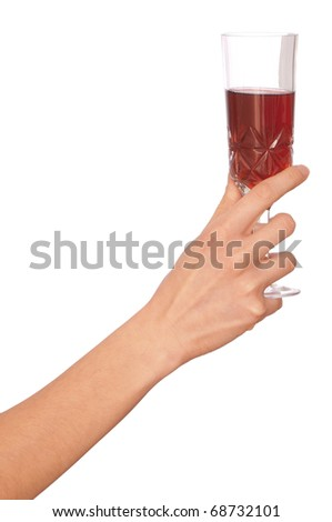 woman taking in the hand one glass with wine