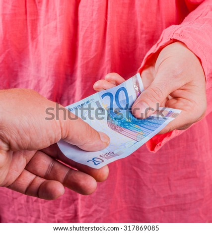 Woman taking money - stock photo