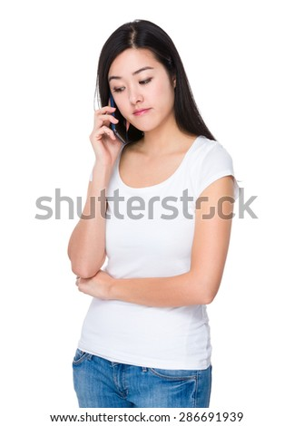 Woman talk to smartphone