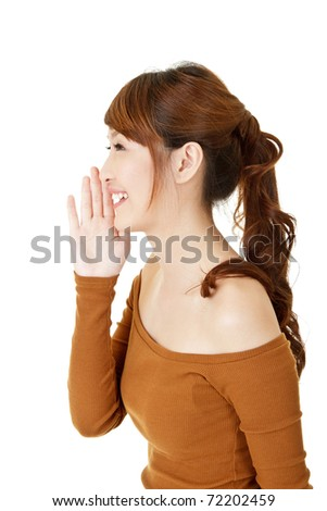 Woman talking, closeup portrait on white background. - stock photo