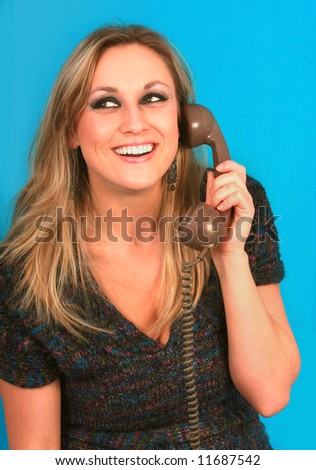 woman talking in telephone very pretty - stock photo