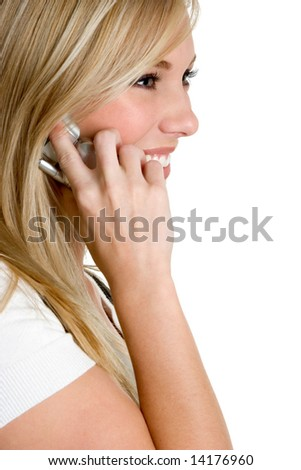 Woman Talking on Phone - stock photo