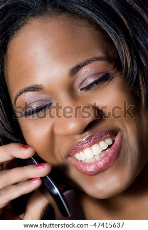 Woman Talking on Phone - stock photo