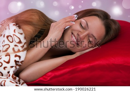 woman talking on the phone before bedtime