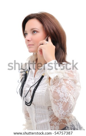 Woman talking over phone.  Isolated over white.