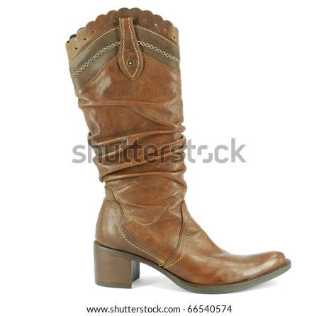 woman tall brown cowboy boot - stock photo