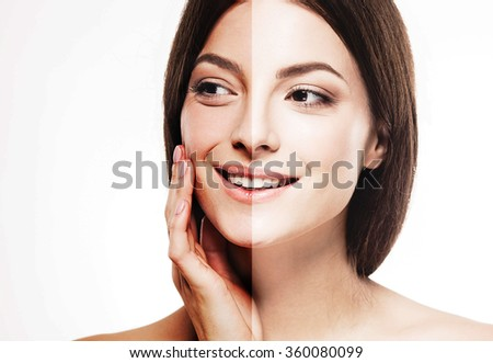 woman tan half face beautiful portrait spray  - stock photo