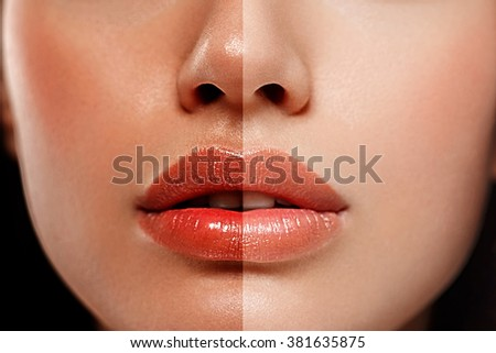 woman tan half face nose lips chin beautiful portrait spray
