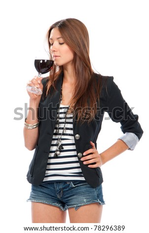 Woman Tasting sampling red wine isolated on a white background - stock photo