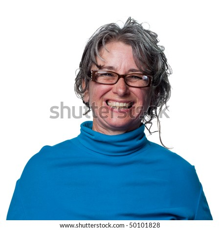 Woman teacher is happy and has a big grin - stock photo