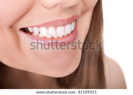 woman teeth and smile, close up, isolated on white
