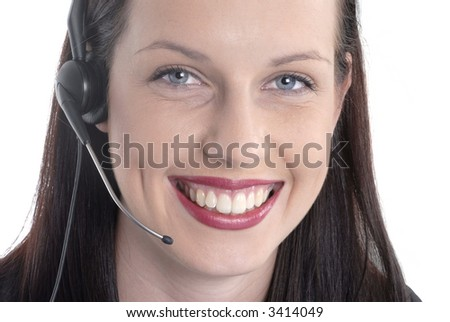 Woman telephone call center, talking, smiling, front view
