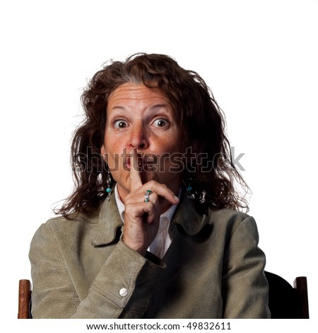 Woman telling people to be quieter - stock photo