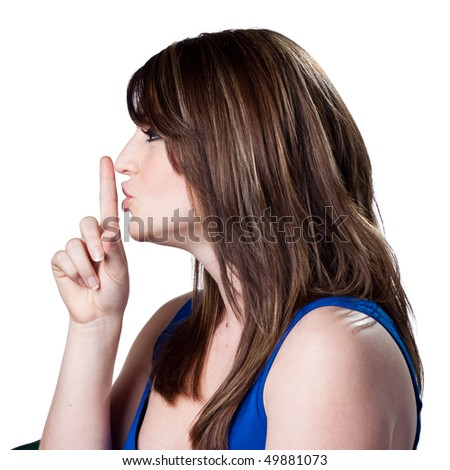 Woman telling people to be silent - stock photo