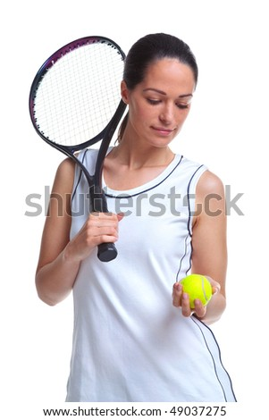 Woman tennis player holding a racket and ball, isolated on a white background. - stock photo