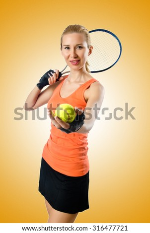 Woman tennis player on white