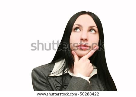 Woman Thinking About It - stock photo