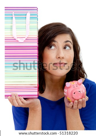 Woman thinking about shopping or saving isolated over a white background - stock photo