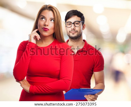 woman thinking isolated