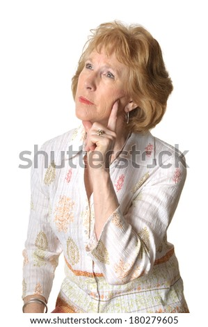 woman thinking isolated over white with room for your text - stock photo