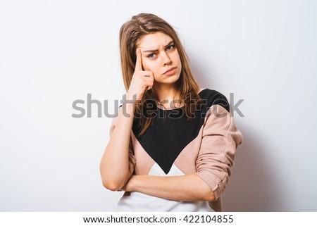 Woman thinks - stock photo
