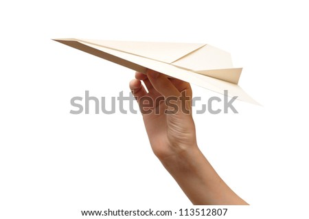 woman throwing white paper plane. Isolated on white background