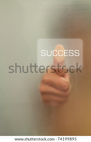 Woman Thumb finger push success button - stock photo