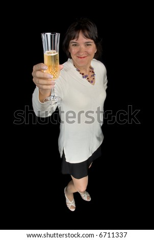 Woman toasts her glass of champaign to celebrate a birthday milestone - stock photo