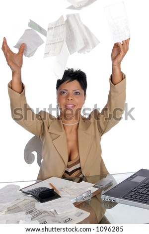 woman tosses her bills up in the air - stock photo