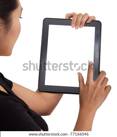 Woman touch back touch pad using for your market promotion - stock photo