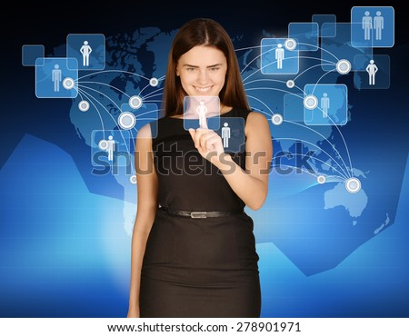 Woman touches icon people on background of world map.