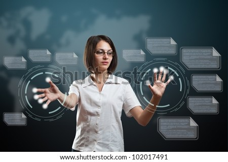Woman touching fingerprint scanner on virtual interface - stock photo