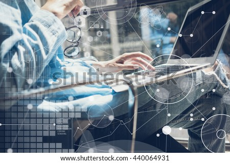 Woman Touching Keyboard Laptop Hand.Project Manager Researching Process.Business Team Working Startup modern Office.Global Strategy Virtual Icon.Innovation Chart Interface.Analyze market stock.Blurred - stock photo