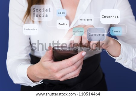 Woman touching touchscreen of Smartphone