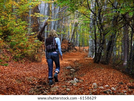 woman tourist walking in the autumn forest