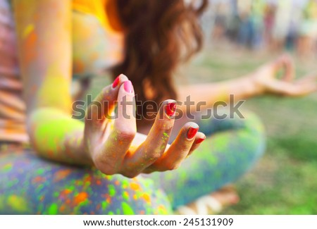 Woman training yoga and meditation, concentrate on finger - stock photo