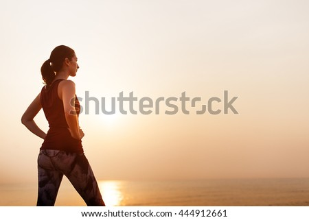 Woman Tranquil Fitness Healthy Peace Sea Concept