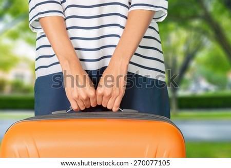 Woman, travel, airport. - stock photo