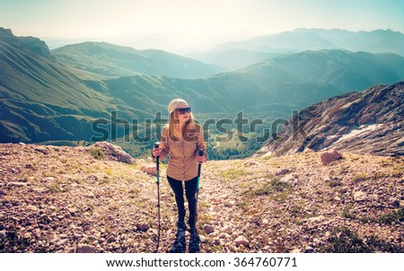 Woman Traveler mountaineering Travel Lifestyle concept mountains on background Summer journey vacations outdoor - stock photo