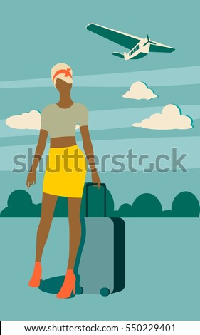 Woman traveler silhouette standing with baggage. Vintage hair style. Cloudscape with retro airplane on backdrop