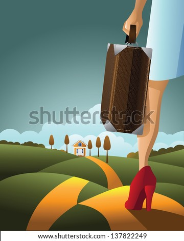 Woman Traveling with Suitcase. EPS 10 vector, grouped for easy editing. No open shapes or paths. - stock photo