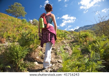 woman trekking at gredos mountains in avila spain